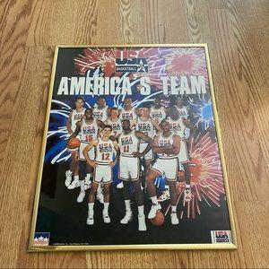 VTG 1992 NBA Olympic USA Basketball Poster 16x20